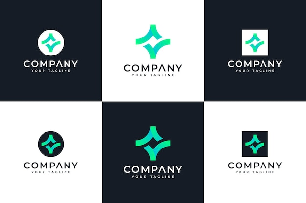 Set van vonk vinkje logo creatief ontwerp voor alle toepassingen