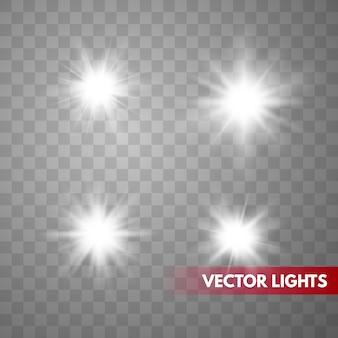 Set van vonken geïsoleerd. vector gloeiende sterren. lens flares