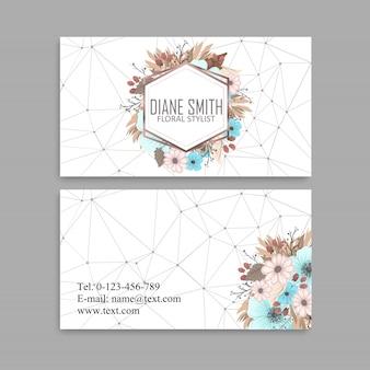 Set van voor- en achterkant visitekaartje met bloemen