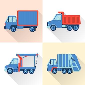 Set van vrachtwagen in vlakke stijl