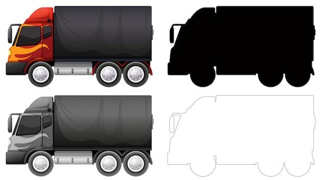 Set van vrachtwagen voertuig