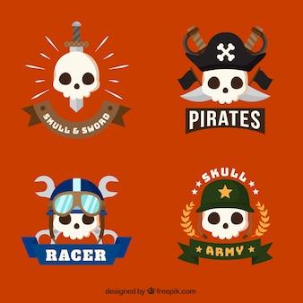 Set van vriendelijke schedel logo