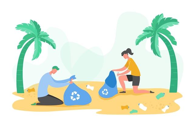 Set van vrijwilligerspersonages die vuilnis en plastic afval verzamelen voor recycling, milieubescherming en scheiding om het concept van milieuvervuiling te verminderen