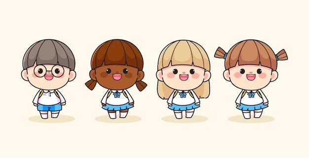 Set van vrolijke gelukkig schattige student karakter hand getekende cartoon kunst illustratie