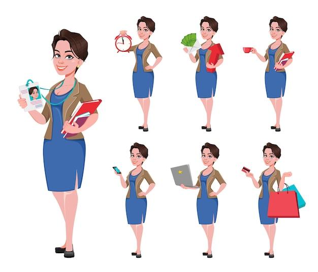 Set van vrolijke jonge zakenvrouw
