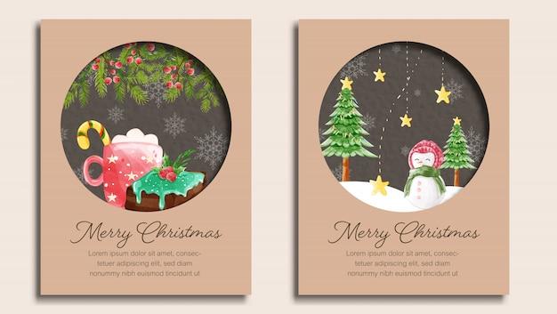 Set van vrolijke kerstkaartsjabloon