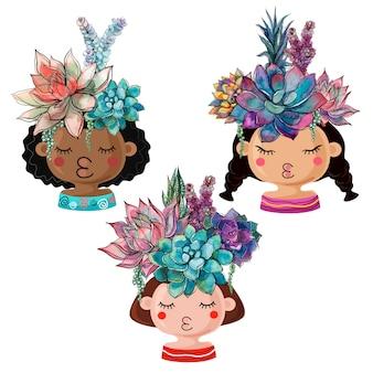 Set van vrolijke potten in de vorm van meisjes met boeketten van vetplanten