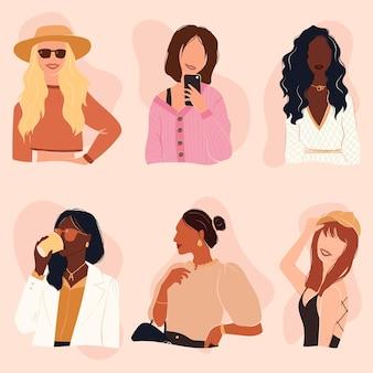 Set van vrolijke trendy meisjes gekleed in verschillende stijlen
