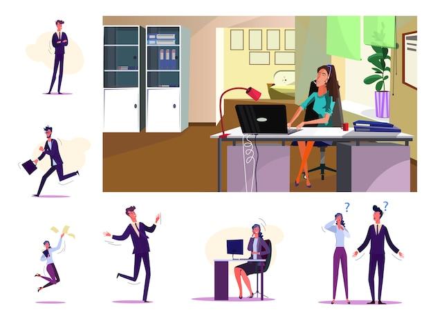 Set van vrolijke zakenmensen