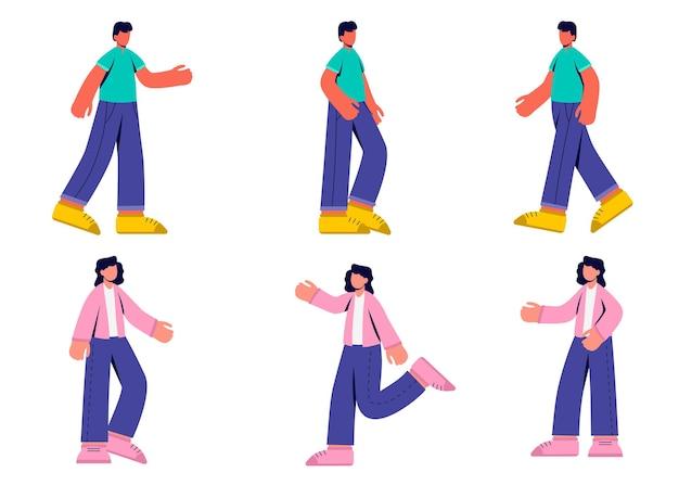 Set van vrouw en man activiteit in stripfiguur, differrent gebaar geïsoleerde vlakke afbeelding