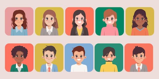 Set van vrouw en man tekenstijl kantoormedewerker Premium Vector