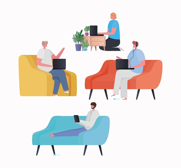 Set van vrouw en mannen met laptop en tablet bezig met stoelbank en meubelontwerp van het thema work from home