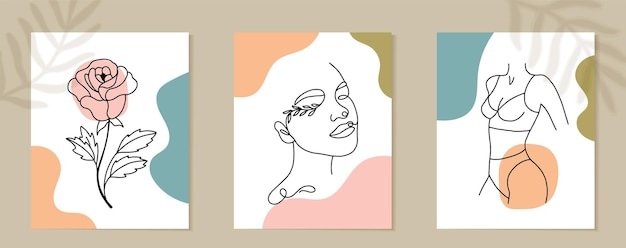Set van vrouw gezicht en bloemen doorlopende lijntekeningen