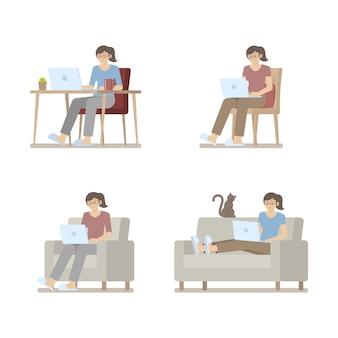Set van vrouw in casual kleding thuis werken op laptopcomputer in platte cartoon stijl