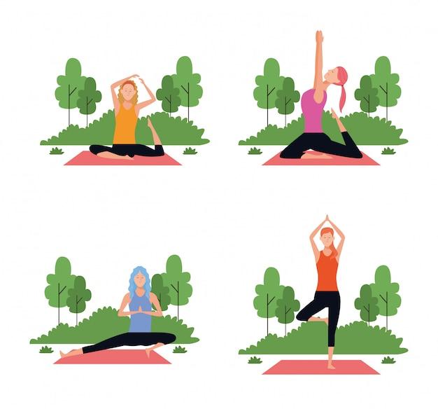 Set van vrouw in yoga houdingen