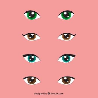 Set van vrouw kijkt met gekleurde ogen