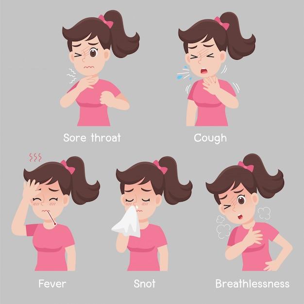 Set van vrouw met verschillende ziektesymptomen - keelpijn, hoest, koorts, snot, kortademigheid