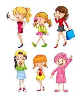 Set van vrouwelijk karakter