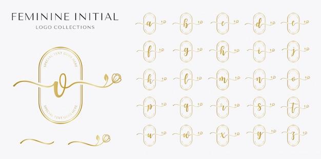 Set van vrouwelijk logo concept met bloem element.