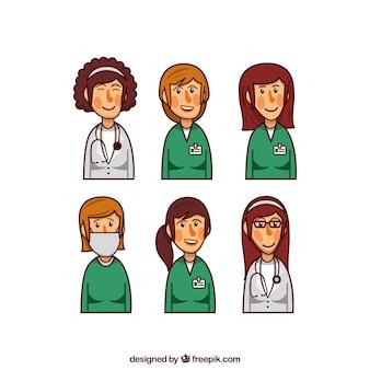 Set van vrouwelijke artsen en chirurgen