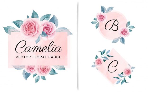 Set van vrouwelijke geometrische badge met perzik aquarel achtergrond en bloemen