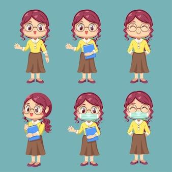 Set van vrouwelijke leraar in stripfiguur en verschilactie, geïsoleerde vlakke afbeelding