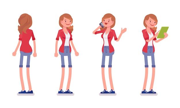 Set van vrouwelijke millennial in staande pose