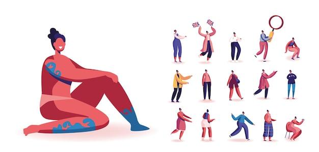 Set van vrouwelijke personages met tatoeage of body art, meisje met britse vlaggen, kleine vrouw met enorm vergrootglas, het drinken van thee, koffie geïsoleerd op een witte achtergrond. cartoon mensen vectorillustratie