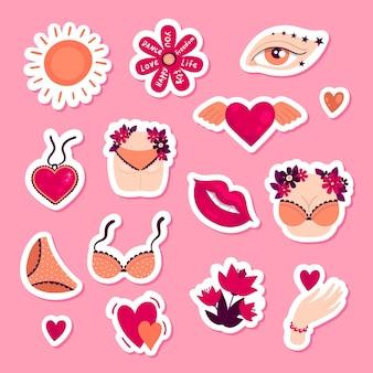 Set van vrouwelijke positieve stickers ondergoed bloemen lippen womens billen en borsten