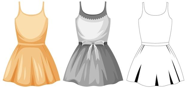 Set van vrouwelijke schattige jurk
