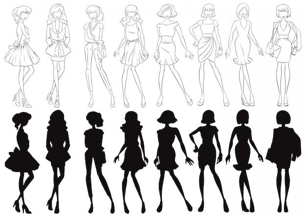 Set van vrouwelijke schets en silhouet