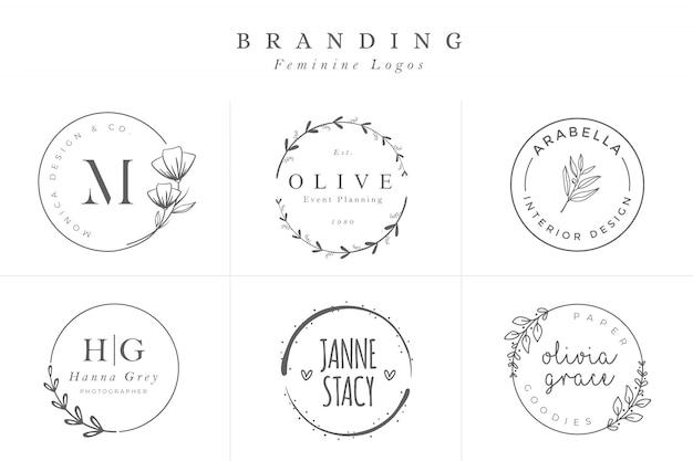 Set van vrouwelijke vectortekens of logo sjablonen