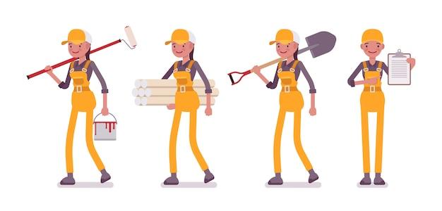 Set van vrouwelijke werknemer in geel algemeen met verschillende hulpmiddelen