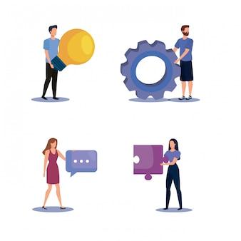 Set van vrouwen en mannen teamwerk met office-pictogrammen