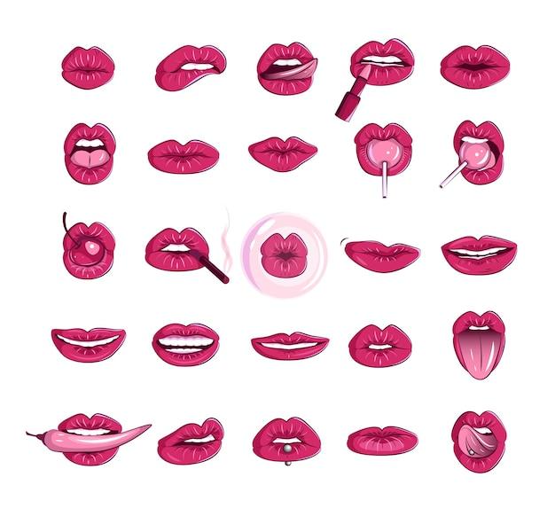 Set van vrouwen lippen en mond erotische gezwollen lippen stickers