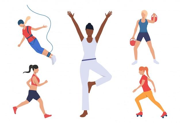 Set van vrouwen met actieve hobby's