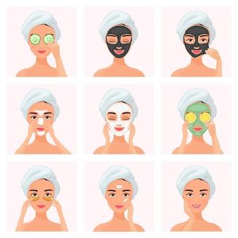 Set van vrouwen met behulp van komkommer gedrenkt oogmasker