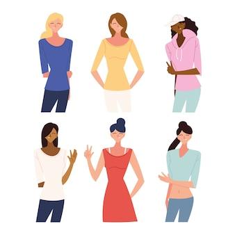 Set van vrouwen tekenfilms ontwerp, vrouw meisje vrouwelijke persoon en mensen