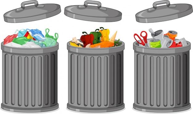 Set van vuilnisbak