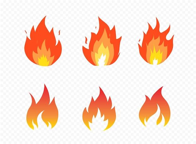 Set van vuur vlam hete vlam energie geïsoleerd op transparante achtergrond