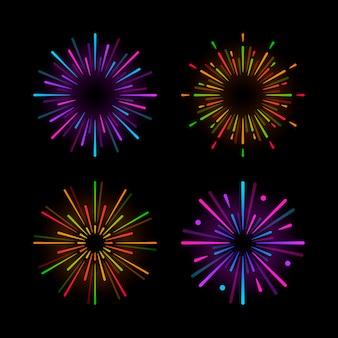 Set van vuurwerk explosie vectoren