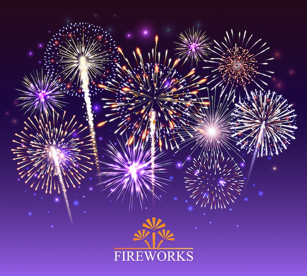 Set van vuurwerk illustratie