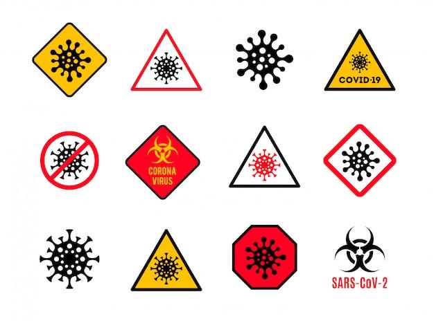 Set van waarschuwing en gevaar bord met coronavirus symbool. stop het covid-19-bord. coronavirus huidschilfers ondertekenen.