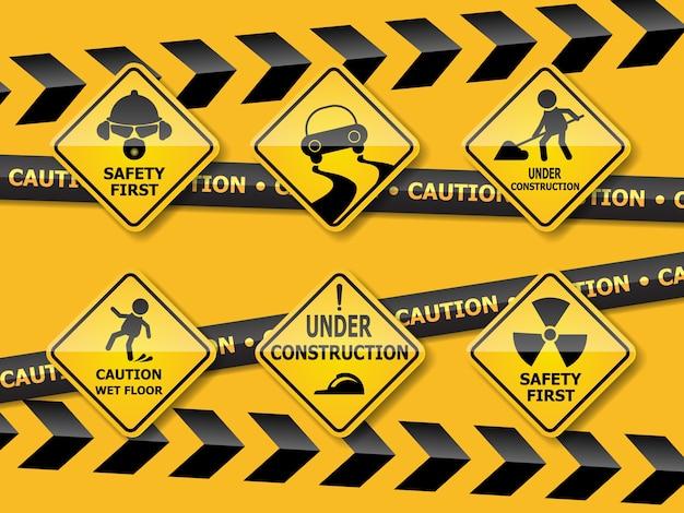 Set van waarschuwing voorzichtigheid teken
