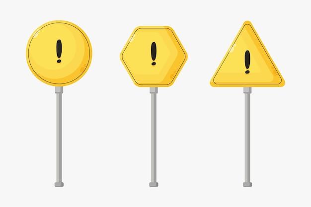 Set van waarschuwingsborden voor gevaar
