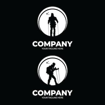 Set van wandelavontuur logo-ontwerpinspiratie
