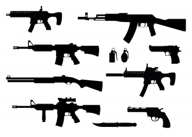 Set van wapen militair geweer, revolver en desert eagle pistool, shotgun karabijn, granaat, mes en machinepistool zwarte eenvoudige pictogram illustratie, geïsoleerd van wit.