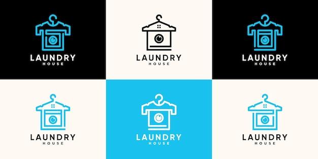 Set van wasserij logo ontwerpsjabloon met hangerkleertjes en creatief concept premium vector
