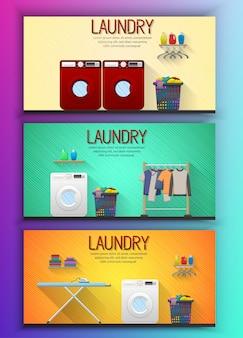 Set van wasserij service sjabloon voor spandoek met wasserij kamer weergave
