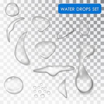 Set van waterdruppels. transparante individuele waterdruppels.